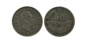 50 Centimes Victor Emmanuel II Italie Argent - Italie Reunifiee