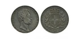 5 Lires Charles Albert Italie Argent - Sardaigne