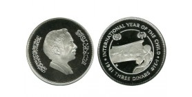 3 Dinars Jordanie Argent