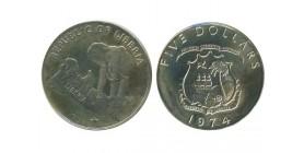 5 Dollars Libéria Argent