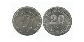 20 Cents Georges VI Malaya