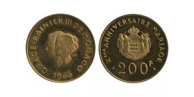 200 Francs Grace et Rainier Xe Anniversaire de Mariage Monaco