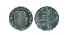 5 Euros Rainier III Sainte Devote Monaco Argent