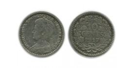 10 Cents Wilhemine Petit Buste Pays - Bas Argent