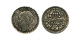10 Cents Wilhemine Tête à¢gée Pays - Bas Argent