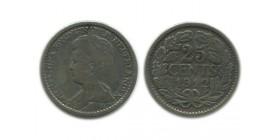 25 Cents Wilhemine Petit Buste Pays - Bas Argent