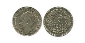 25 Cents Wilhemine Tête à¢gée Pays - Bas Argent