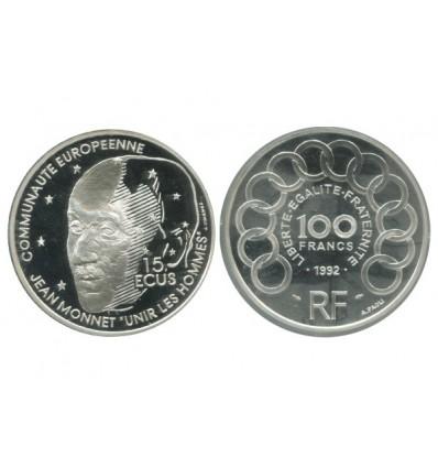 15 Ecus / 100 Francs Jean Monnet