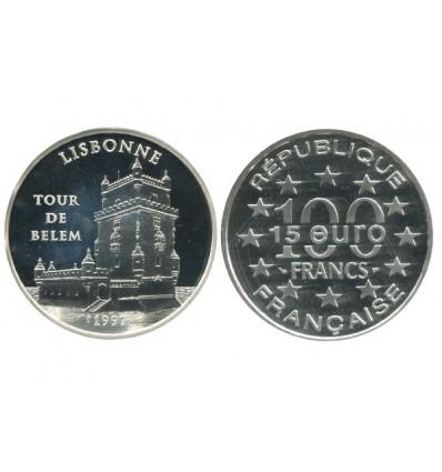 15 Euro / 100 Francs Lisbonne Tour de Belem Monuments de l'Europe