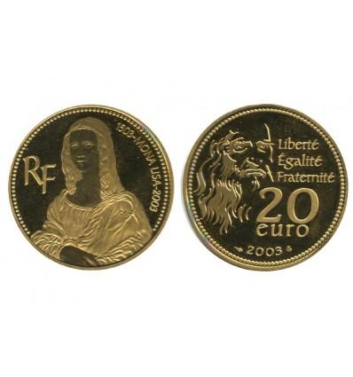 20 Euros 500ème Anniversaire de Mona Lisa