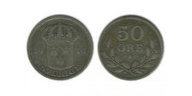 50 Ore Gustave V Suède Argent